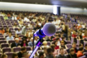 microphone on the stage and auditorium