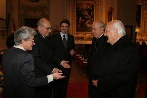 Il Prof. Antico con il Presidente Oscar Luigi Scàlfaro e con il Cardinale Achille Silvestrini - Inaugurazione AA 2004/2005 SIMOH