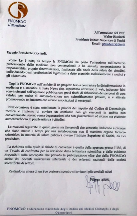 lettera Anelli FNOMCeO a Ricciardi ISS 24.05.2018